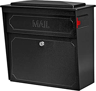 Mail Boss 7172 Townhouse Locking Security Wall Mount Mailbox, Black