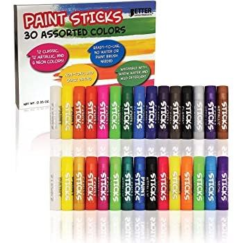 Solid Tempera Paint Sticks, 30 Pack, Fast Drying, No Brush or Water Needed, Washable, 30 Assorted Colors, 12 Classic/12 Metallic/6 Neon, by Better Office Products, Non-Toxic, Box of 30 Colors