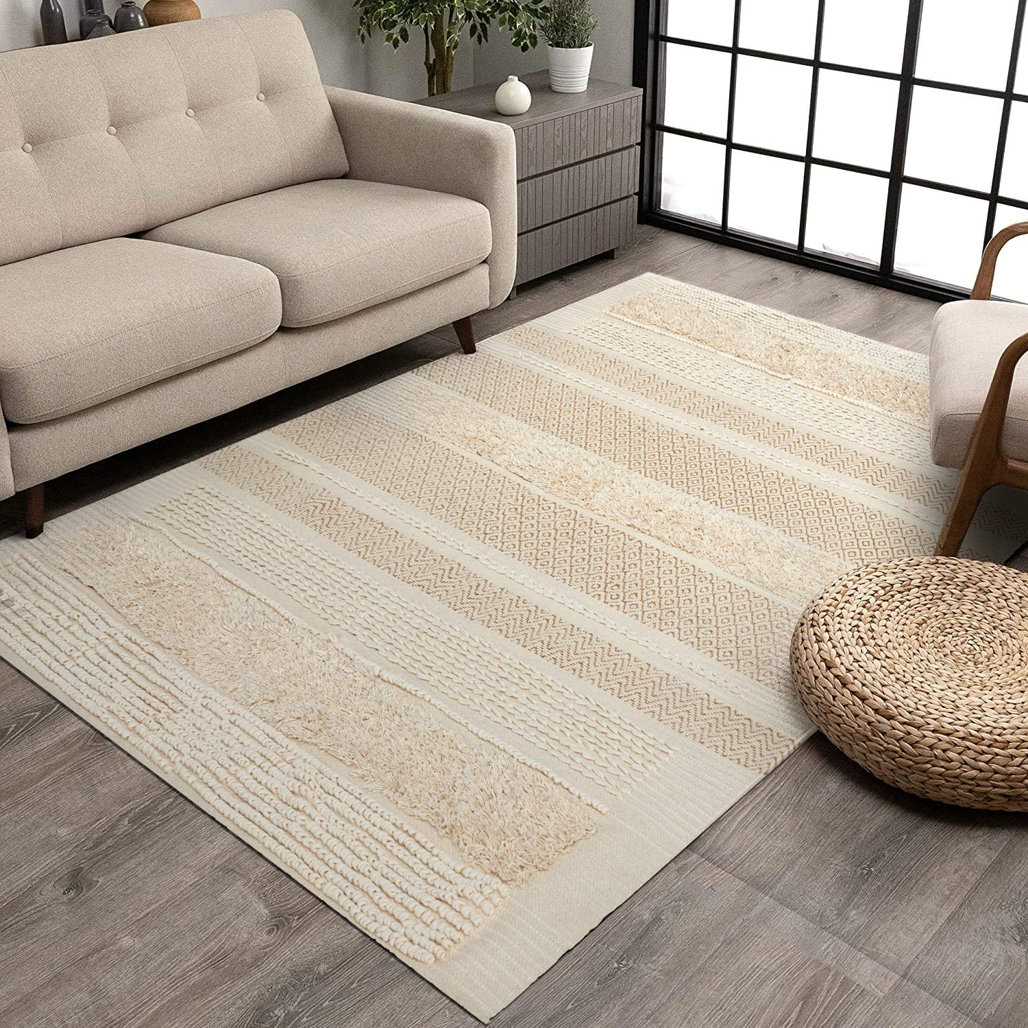 MOTINI Tufted Cotton Area Rug 5' x Knotted Woven 買取 Boho 7' Hand 日本メーカー新品 S