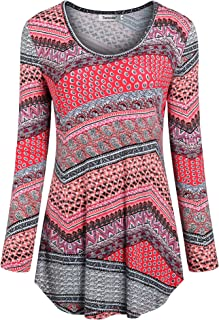 Tencole Women Long Sleeve Shirts Ethnic Style Casual Tunic Tops Pleated Blouse