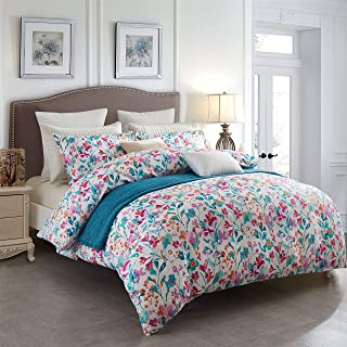 ECRISDOO Duvet Cover Queen Comforter Set 3 Pieces, 100% Cotton Super Soft Flower Bedding Set, Botanical Floral Pattern Printed Breathable Comforter Bed Cover & Pillow Shams (Queen, Maple Shadow)