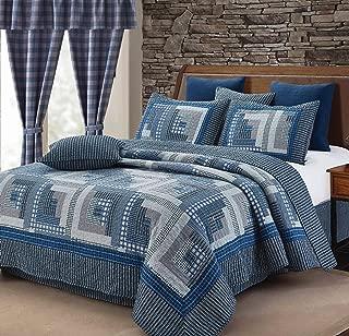 Duke Montana Cabin Blue/Gray Quilt Set King