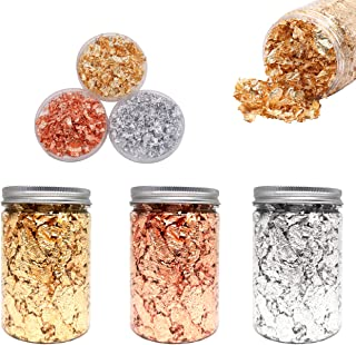 GOTONE Gold Leaf Flakes - Color 2.5 Imitation Gold, Silver, Copper Color 99% Copper Gilding Flakes, 3 Bottles Metallic Foi...