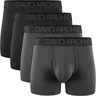 DAVID ARCHY Men's Boxers, Men's Briefs, Men's Underwear Bamboo Men's Boxer Shorts Multipack with Pouch and Fly, Ultra Soft...