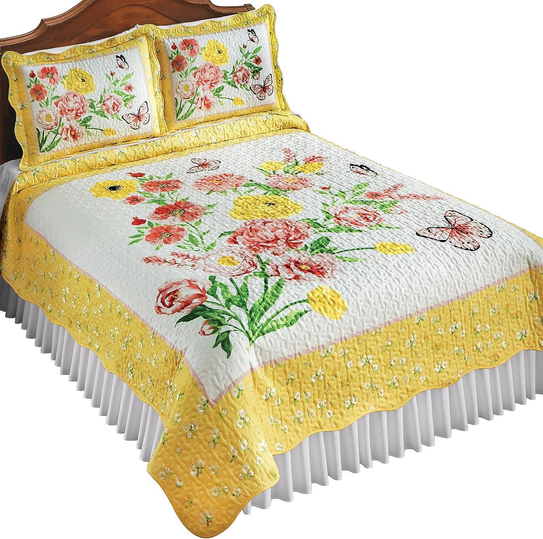 新色 Yellow Bordered Butterfly Floral Quilt 定番キャンバス Garden