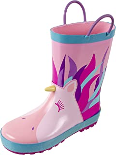 Rainbow Daze Kids Rain Boots with Easy on Handles, Fun Prints,Waterproof,Unisex Boots,Toddlers & Kids, Age 2 to 9
