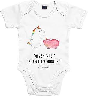Mr. & Mrs. Panda Strampler, Bodysuit, 3-6 Monate Baby Body Einhorn  Schweinhorn mit Spruch - Farbe Transparent