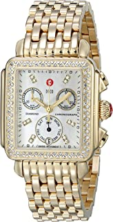 MICHELE Women's MWW06P000100 Deco Analog Display Swiss Quartz Gold Watch