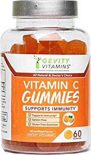 Vitamin C Chewable Gummies by Gevity Vitamins – Supports Immune System for Adults and Kids – All Natural 60 Gummies – Impr...