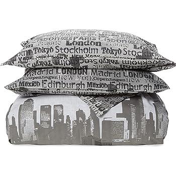 Cityscape Catherine Lansfield-Copripiumino Matrimoniale e federa 260 x 240 cm + 50 x 110 x 2 cm grigio