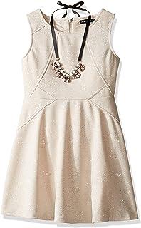 فستان My Michelle للفتيات بدون أكمام كبير مع تفاصيل الخياطة والقلادة والسحاب الخلفي