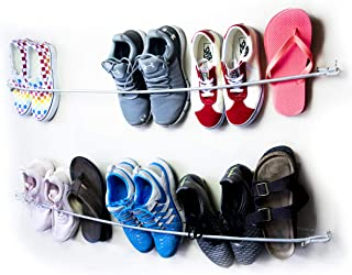 Wall Mounted Adjustable Bungee Shoe Rack, 2 Pack, Hanging Shoe Racks Hold 10-16 Pairs of Shoes, All Accessories Included, Long Shoe Rack for Garage, Outdoor, or Home Use