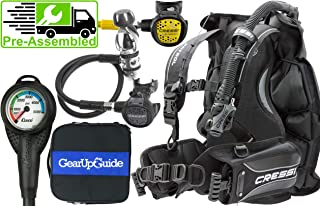 Cressi Patrol BCD Scuba Diving Gear w/ AC2 Compact Regulator, Compact Octo, Leonardo C2 Console & GupG Regulator Bag