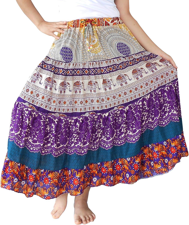BONYA Women's Hippie Boho colorful Patchwork Tiered Elastic Stretch Waist with Drawstring Skirt