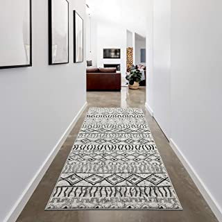 Grey Runner Rug 2.6 x 7.9 by LOOM&WEAVE for Hallways, Entryway, Bed Sides, Kitchen & Bathroom - Instantly Transform Your Modern, Farmhouse or Bohemian Home Décor (BAL)