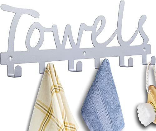 Bathroom Towel Rack 6 Hooks Wall Mount Door Hooks Towel Holder & Bath Organizer Silver Sandblasted Coat Robe Hook Wat...