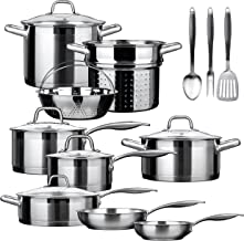 Duxtop SSIB-17 Professional 17 Pieces Stainless Steel Induction Cookware Set,..
