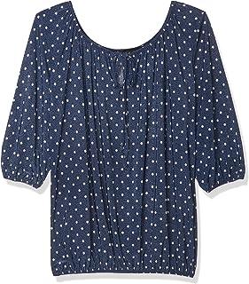 Star Vixen womens Petite 3/4 Sleeve Peasant Elastic-Hem Keyhole-Tie Top Blouse