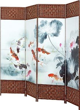 MyGift 4-Panel Asian Koi Fish & Lotus Pond Woven Wood Room Divider