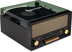 ClearClick All-in-One Turntable with CD Player, FM Radio, Bluetooth, Aux-in, & USB - Vintage Retro Modern Design (Black)
