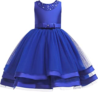 Glamulice Flower Girls Ruffles Vintage Embroidered Sequins Lace Wedding Dress Party Bridesmaid Gown 2-12Y