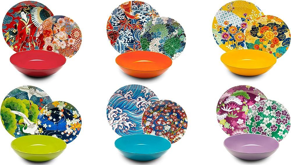 Excelsa kimono , servizio di piatti da 18 pezzi, in  porcellana e ceramica multicolore 62486