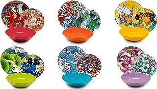Excelsa Kimono - Vajilla de porcelana y cerámica (18 piezas), multicolor