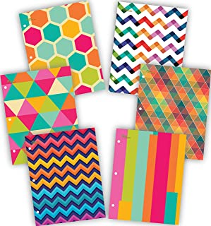 NEW GENERATION – Chevron - School Supplies 2-Pocket Folder Value Pack with Assorted Fashion Eye-Catching Designs – Durable Laminated Letter Size Set - 6 Pack School, Home, Office,Folders