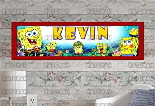 Customized Name Painting SpongeBob Squarepants Poster With Your Name On It Personalized Banner With Border Mat
