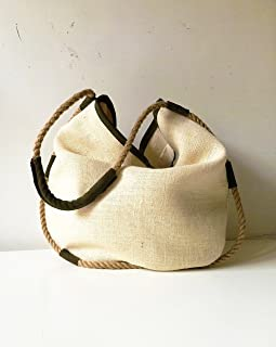 Jute tote bag with hemp rope, handmade womens clothing made in italy, limited edition BBagdesign.