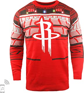 NBA Houston Rockets Mens Light Up Bluetooth Speaker Sweaterlight Up Bluetooth Speaker Sweater