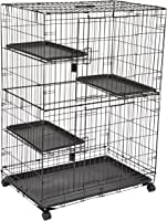 Amazon Basics Large Kennel, 3-Tier, Cat Cage Playpen Crate - 36 x 22 x 51 Inches, Black