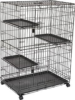 قفص وكشك لعب كبير من 3 طبقات مخصص للقطط من أمازون بيسكس - مقاس 36 × 22× 51 انش باللون الاسود
