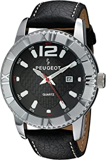 Peugeot Men Round Quartz Watch with Luminous Hands & Markers