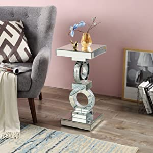 Mirrored End Table with Crystal, Square Modern Side Table Silver Accent Table with Two Round in Middle, Drum End Table for Living Room Bedroom from MIREO Fine Furniture