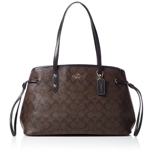 Coach Signature Drawstring Carryall Shoulder Bag F57842 (Brown black) 2e234350bbfcc