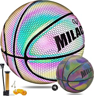 MILACHIC Holographic Reflective Glowing Basketball Official Size 7/29.5in, Light up Glow Basketball with Pump Special Basketball Gifts for Boys, Girls, Men, Women Indoor-Outdoor Use