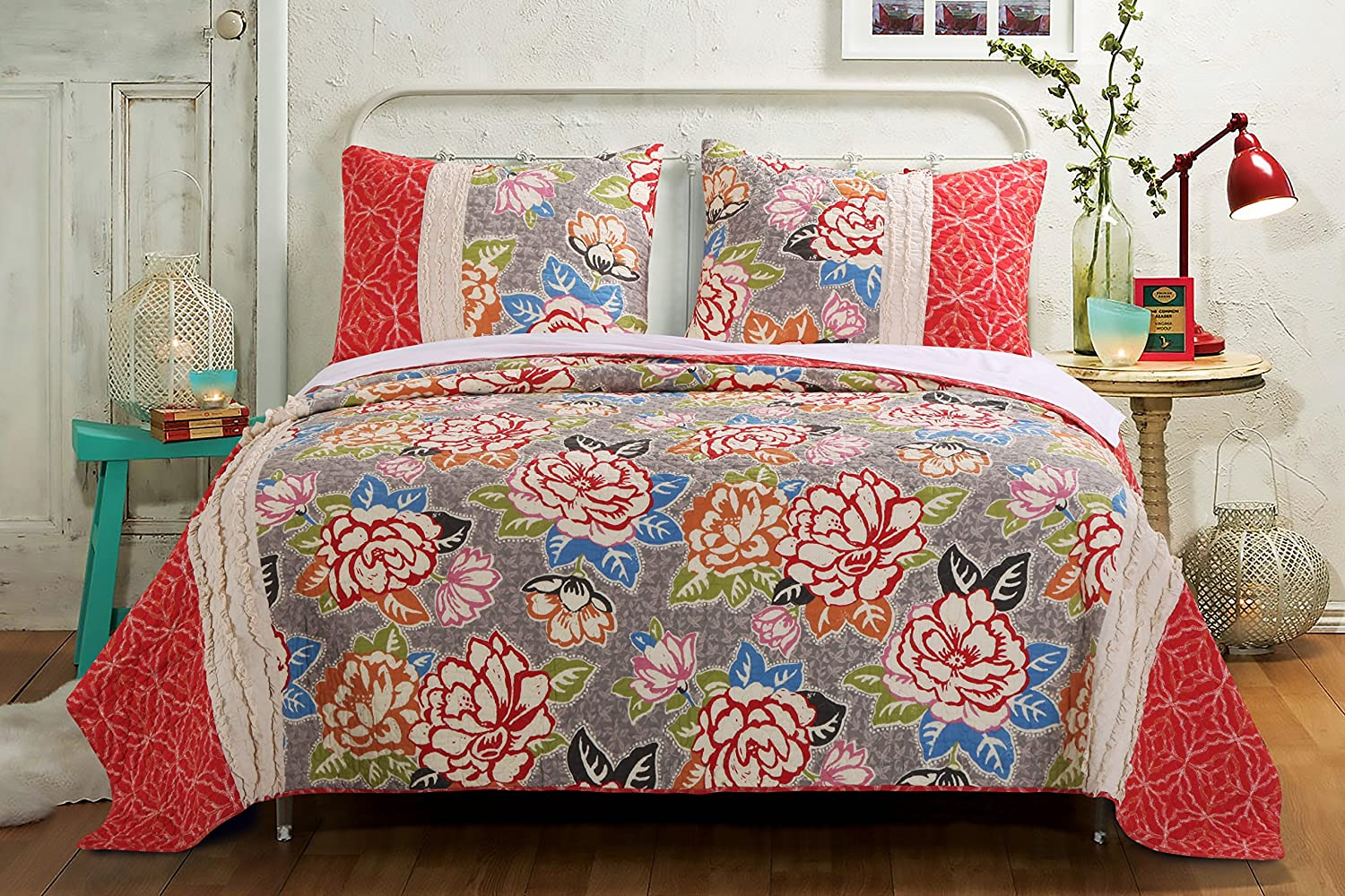 Barefoot Bungalow Gypsy pink Quilt Set, 3-Piece Full Queen, 4
