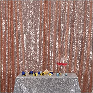 Poise3EHome 5FT x 7FT Sequin Photography Backdrop Curtain for Party Decoration, Rose Gold