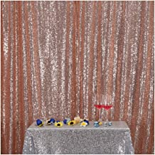 Poise3EHome 4FT x 7FT Sequin Photography Backdrop Curtain for Party Decoration, Rose Gold