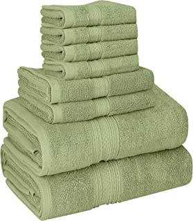 Utopia Towels 8 Piece Towel Set, 700 GSM, 2 Bath Towels, 2 Hand Towels and 4 Washcloths, Sage Green