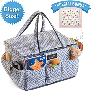 ‏BabyDu Premium Diaper Caddy Organizer with Dust Cover, Large Nursery Travel Storage Bin, Portable and Washable Basket, Tote Bag for Diapers, Bottles, Wipes, Toys, Baby Shower Gift, w/Free Burp Cloth