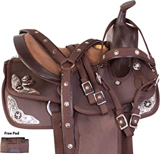 AceRugs Brown Synthetic Cordura Youth Kids Western Trail Horse Pony Saddle TACK Set Headstall REINS Breast Collar