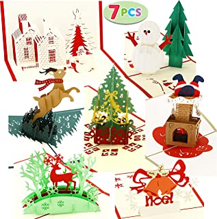 Pack of 7 Pop-up 3D Christmas Greeting Cards Unique Designs & Envelopes 4