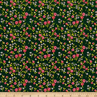 Windham Fabrics Heather Ross Mousies Floral Dark Green Fabric Fabric by the Yard