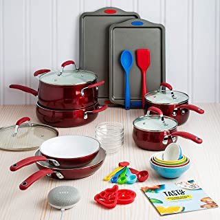 Tasty 30 Piece Heavyweight Non-Stick Ceramic Cookware Set - Includes Google Home Mini