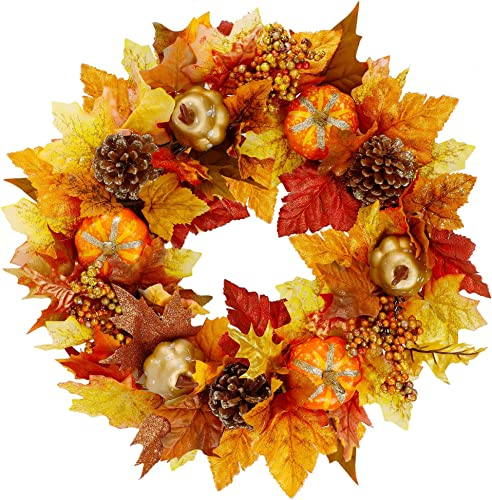 """new arrival Twinkle Star 16"""" Fall Wreath, Autumn Harvest Wreath, Pumpkins and outlet sale Artificial Maple Leaves, Pine Cone and Berries, for Front Door Wall Indoor Outdoor Halloween Thanksgiving popular Decorations outlet online sale"""