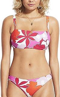 Seafolly Women's DD Cup Bandeau Bikini Top Swimsuit with Straps, Sun Dancer Spicy Orange, 8