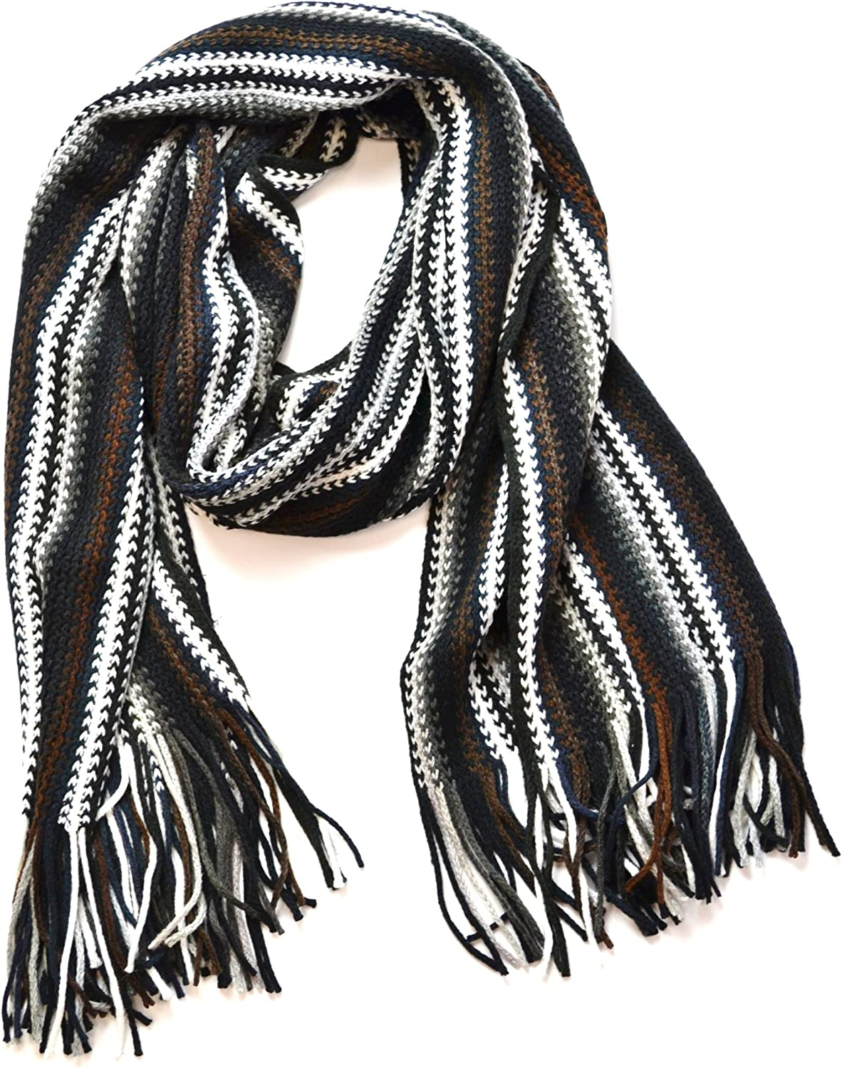 Anytime Scarf Black Striped Knitted Men's Scarf Stole Fashion Scarves