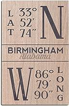 Lantern Press Birmingham, Alabama - Latitude and Longitude (Blue) (12x18 Wood Wall Sign, Wall Decor Ready to Hang)